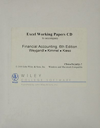 Excel Working Papers Cd (Financial Accounting, Excel Working Papers CD)