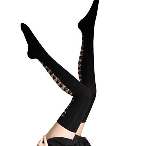 DDLBiz Black Women Sexy Hole Halved Belt Thigh High Stockings Thigh Highs (Sexy Black Belt)