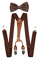 JAIFEI Suspenders & Bowtie Set- Men's Elastic X Band Suspenders + Bowtie For Wedding, Formal Events