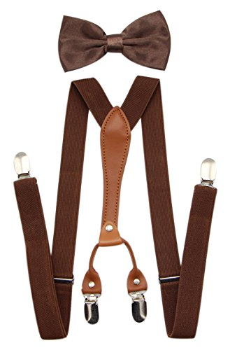JAIFEI Suspenders & Bowtie Set- Men's Elastic X Band Suspenders + Bowtie For Wedding, Formal Events (Brown)]()