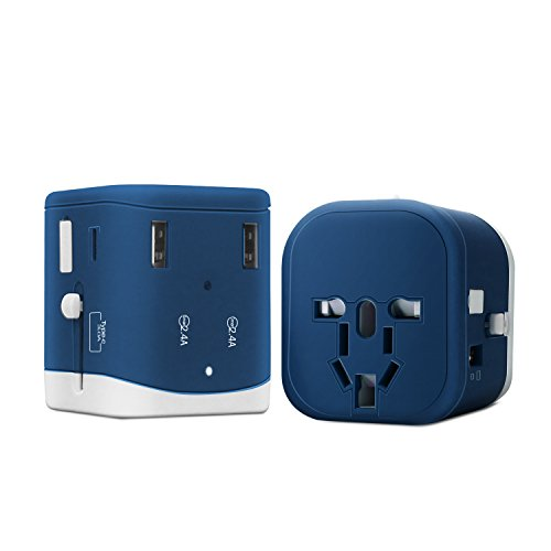 ZOEYI Travel Adapter USB charger Multi-purpose outlet TYPE-C charger Smartphone charging for International Travel (B-C Purplish Blue) by ZOEYI
