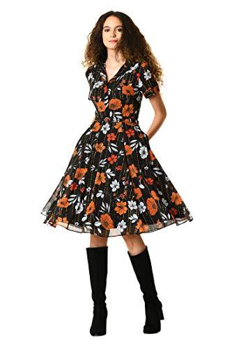 Belted Georgette - eShakti Women's Linear Floral Print Georgette Belted Shirtdress 1X-18W Regular Black/Multi