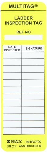 Brady LAD-EITL521 6-1/2'' Height, 2'' Width, Vinyl, Yellow Color Laddertag Inserts (Pack Of 100) by Brady
