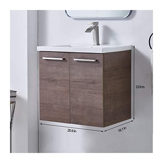 """Ufaucet Modern 21"""" Dark Brown Wood Grain Wall-Mounted Bathroom Vanity, Single 2-Door Bathroom Sink Cabinet Combo Set with Ceramic Vessel Sink - Eco-Friendly construction:MDF wood board and melamine finish. Dimensions:23.6*20.9*18.1 in. Vessal sink Size: 24*18.3*6.7 in.Shipped in two separate packages. Wall-mounted design is the best way to save your bathroom space, and avoid hygienic dead angle on the floor. - kitchen-dining-room-furniture, kitchen-dining-room, kitchen-dining-room-chairs - 41tbmVPIdML. SS570  -"""