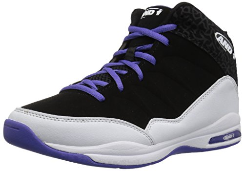 AND1 Boys' Breakout Skate Shoe, Black/White/Royal, 1 M US Little Kid by AND1