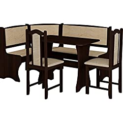 Breakfast Kitchen Nook Table Set, L-Shaped Storage Bench with Chairs, Vange Color