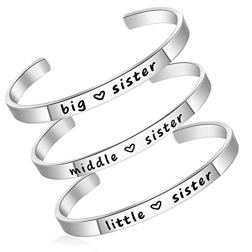 LIUANAN 3pcs Sister Love Infinity Cuff Bangle, Personalise Stainless Steel Bridesmaid Friendship Bracelets Gift for Family Women Girl (3pcs-Silver-Sister)