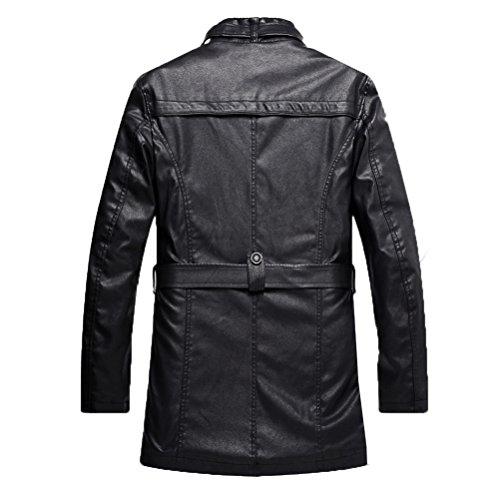 Uomo Giacca 6 Basic Robo Nero Con 1 Stile l Biker xs Nera Attillata Pelle Cintura In Fit Cappotto Trench Da Slim EpwASYq
