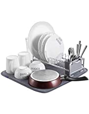 Kingrack Dish Drying Rack, Aluminum Dish Drainer, Compact Dish Rack with Microfiber Dish Drying Mat Absorbent for Extra draining, Plate Rack Sink Drainer with Cutlery Holder for Kitchen Countertop WKAU112050
