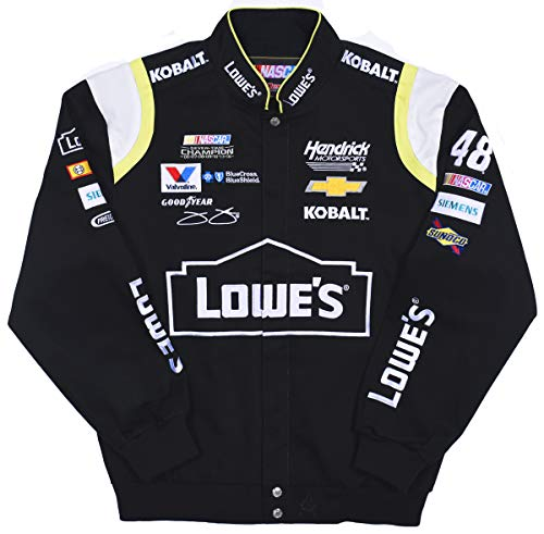 Men's Jimmie Johnson Lowe's Cotton Twill Embroidered Snap Up Nascar Jacket (2X, Black)