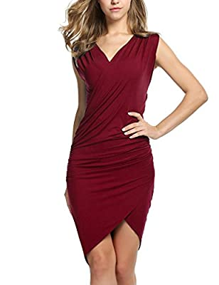 ANGVNS Women Sleeveless V Neck Bodycon Party Pencil Dresses