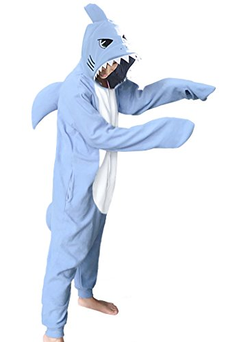 WOTOGOLD Animal Cosplay Costume New Shark Unisex Adult Pajamas Sky Blue, Large -