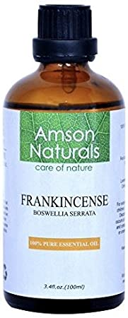 FRANKINCENSE ESSENTIAL OIL 3.4 Oz (100 ml) –100% Pure & Natural - by Amson Naturals - Perfect for Aromatherapy, Relaxation, Skin Therapy & more !