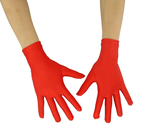 Ensnovo Adult Wrist Length Lycra Spandex Full Finger Stretchy Short Gloves Red M (Red Halloween Glove)