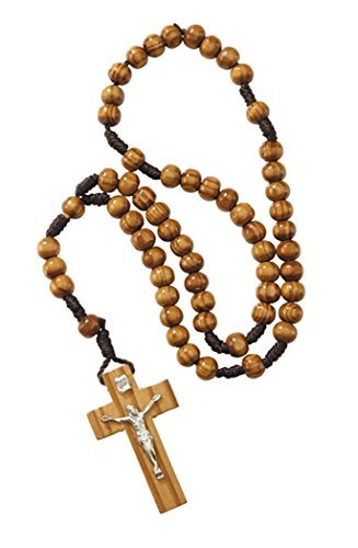 Olive Wood Prayer Bead Hand Held Cord Rosary with Crucifix, 12 (Rosary Wood Crucifix)