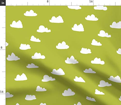 (Spoonflower Clouds Fabric - // Celery Green Cool Gender Neutral Cloud Baby Nursery Fabric Print on Fabric by The Yard - Denim for Sewing Bottomweight Apparel Home Decor Upholstery)