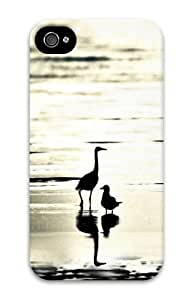 iphone 4 free shipping covers Large and small beach bird 3D Case for Apple iPhone 4/4S