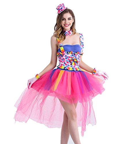 [Zooma Women Cute Clown Costume Women Circus Tutu Lulu Colourful Cosplay Dress] (Cute Female Clown Costumes)