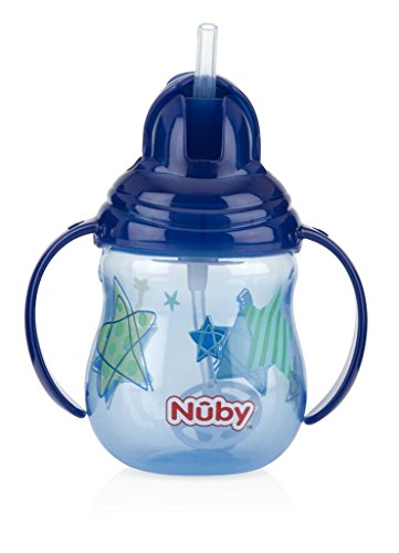 (Nuby 1-Pack Designer Series No Spill Flip N' Sip Twin Handle Cup with Weighted Straw , 9 oz -  Colors May Vary)
