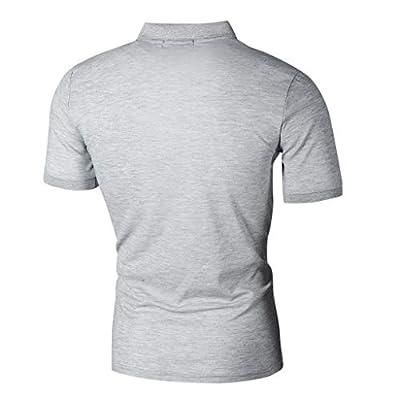 Clearance!Men Summer Zip T-Shirt Top, lkoezi Male Fashion Pocket Personality Casual Slim Short Sleeve Tops Soild Color Lapel Blouse