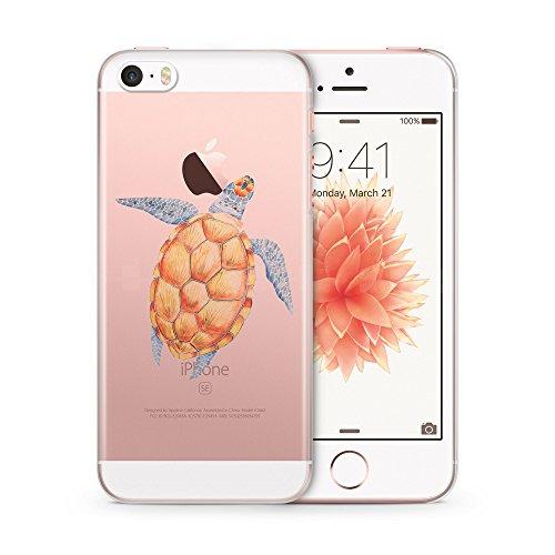 iPhone 5   5S   SE TRANSPARENT SLIM Hülle - Schildkröte Tropical - Hardcase Cover Case Schale Schutz Schutzhülle Wasserfarben Tropisch Tropic Sommer Summer Beach Meer Strand Urlaub Holiday Turtle