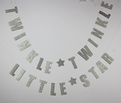 OOCC GoldenTwinkle Twinkle Little Star Banner for Wedding Birthday Baby Shower Holiday Party Decorations Supplies/Bonus: 1* Glitter Baby Photo Banner Garland (Silver)