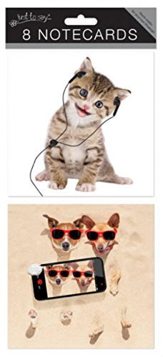 'JUST TO SAY' PACK OF 8 BLANK NOTECARDS NOTELETS - 4099 KITTEN & PUP Tallon
