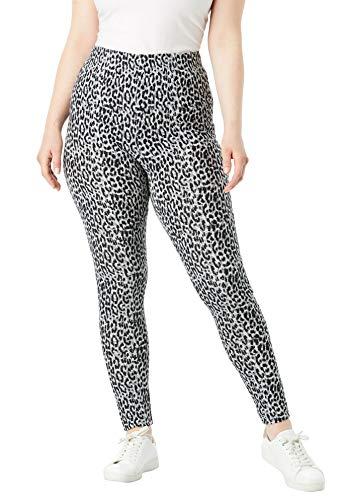 Roamans Women's Plus Size Essential Stretch Legging - Gray Animal Print, S