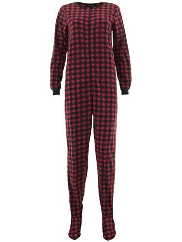 Rene Rofe Women's Red Plaid Footed Pajamas -