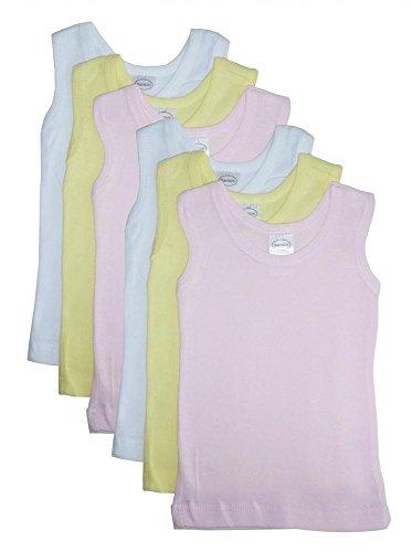 Bambini Girls's Six Pack Pastel Tank Top - Medium - (Organic L/s Bodysuit)