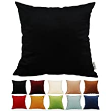 """TangDepot® Solid Velvet Throw Pillow Cover/Euro Sham/Cushion Sham, Super Luxury Soft Pillow Cases, Many Color & Size options - (26""""x26"""", Black)"""