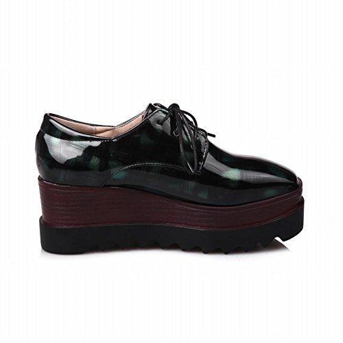 Plataforma Latasa Para Mujer Con Cordones Oxford Cuñas Zapatos Verde Oscuro