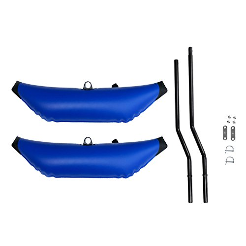 (Prettyia Pack 2 Premium Blue PVC Kayak Canoe Fishing Outrigger Stabilizer Buoy & Sidekick AMA Kit)