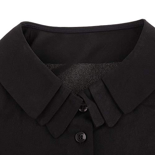 Mousseline Vetement Jeune Mode Haut Tops Uni Printemps Blouse Casual Manche Femme Shirt Boutonnage Elgante Chemise Automne Manches Revers Simple Schwarz1 Dame Longues Basic q1pIwHZ