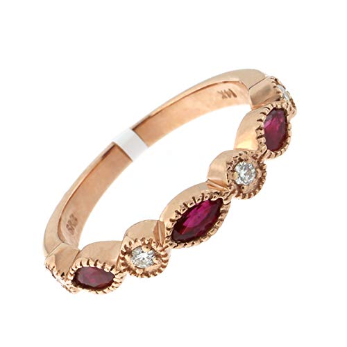 (14k Rose Gold Vintage Style 0.45ctw Ruby and 0.1ctw Diamond Half Eternity Band Ring, Size 7)