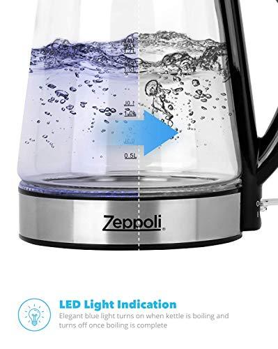 Zeppoli Electric Kettle Glass Tea Kettle 1 7l Fast
