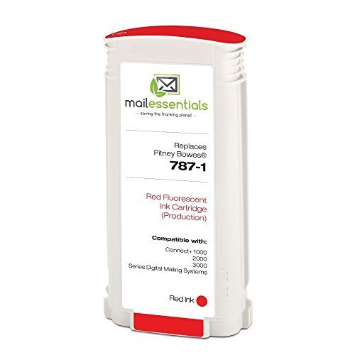 787-1 Fluorescent Red Production Ink Cartridge for Pitney Bowes Connect+ 1000, 2000 & 3000 Mailing Machines from Mail Essentials USA by Mail Essentials
