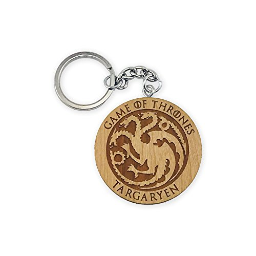 Game of Thrones Targaryen Cherry Inked and Screened Laser Engraved Keychain