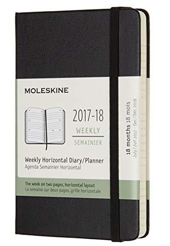 Moleskine 18 Month Weekly Horizontal Planner, Pocket, Black, Hard Cover (3.5 x 5.5)