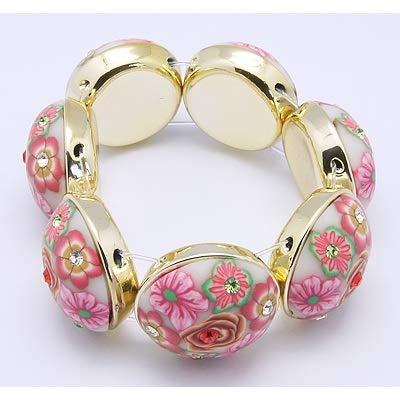Retro 1960's Flower Blossom & Rhinestone Stretch Bracelet