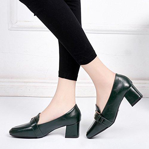 Giy Damesschoenen Klassieke Vierkante Teen Pumps Loafers Comfort Instapper Gesp Blokhak Casual Jurk Loafer Schoenen Legergroen