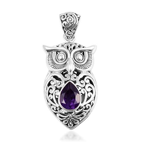 - Owl Pendant Necklace 925 Sterling Silver Pear Amethyst Gift Jewelry for Women Cttw 1.9