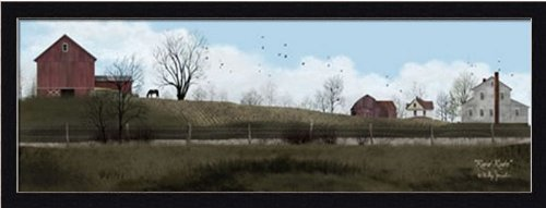Rural Route by Billy Jacobs Primitive Folk Art Landscape 31.5x11.5 in Framed Art Print Picture (Country Folk Art Primitive)