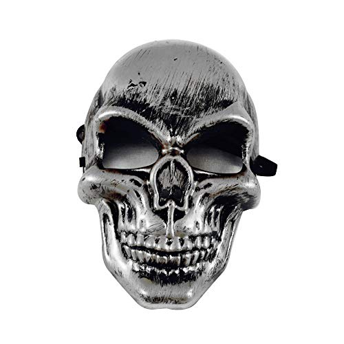 Price comparison product image Cywulin Halloween Party Scary Props Skeleton Skull Mask Ghost Cosplay Horror Creepy Mask Grimace Costume for Men Women Kids (Silver)