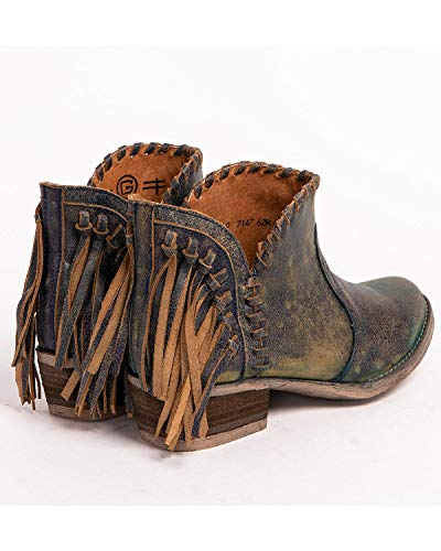 Back Leather Corral Braided Boots Fringe Blue Women's Top Urban Shortie Jean UwxERAwg