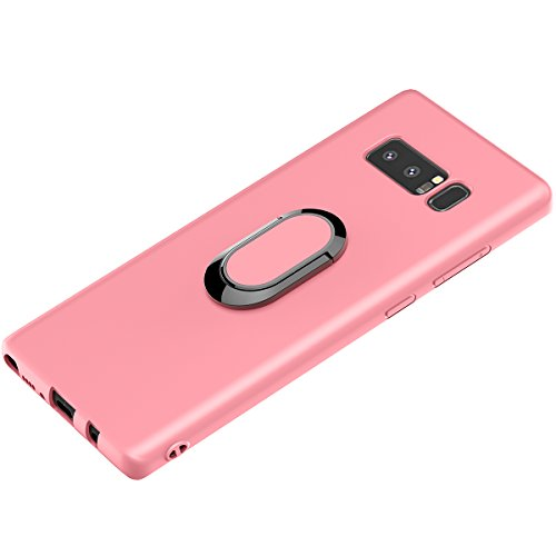 Price comparison product image Galaxy Note 8 Case, WATACHE Ultra Slim Thin Form-fitted Premium Flexible TPU Shockproof Protective Cover Case with Magnetic 360 Degree Rotating Ring Holder for Samsung Galaxy Note 8 (Pink)