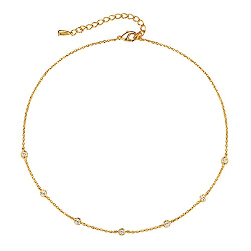 theMoment Yellow 14K Gold Plated Brass Simple Chain Choker Necklace