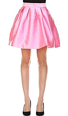 SYSTEM LA Womens Side Pockets Taffeta Pleated A Line Skater Mini Skirt(S3121)