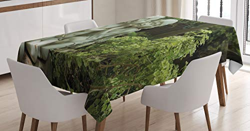 Lunarable Guardian Angel Tablecloth, Photo of Cute Cupid Kiss Statue in Garden, Dining Room Kitchen Rectangular Table Cover, 60 W X 84 L Inches, Pale Olive Green Mint Green Dark Olive Green ()