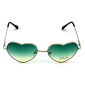 AMAZZANG-Stylish Metal Frame Sunglasses Women Love Heart Shape Lens Eyewear Eyeglasses (GREEN)